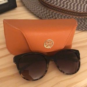 Rounded Tortoise Tory Burch Sunglasses